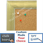BB1687-1 | Brushed Gold with White | Custom Cork Bulletin Board | Custom White Dry Erase Board | Custom Chalk Board