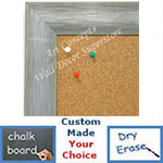 BB1687-5 | Brushed Silver with Green | Custom Cork Bulletin Board | Custom White Dry Erase Board | Custom Chalk Board