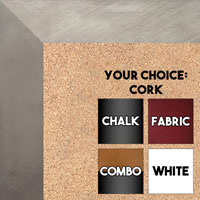 BB1688-2 | Silver / Flat Moulding | Custom Cork Bulletin Board | Custom White Dry Erase Board | Custom Chalk Board