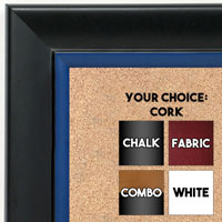 BB1690-6 | Black / Blue | Custom Cork Bulletin Board | Custom White Dry Erase Board | Custom Chalk Board