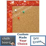 BB1691-4 | Glossy Orange / Design | Custom Cork Bulletin Board | Custom White Dry Erase Board | Custom Chalk Board