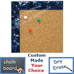 BB1691-8 | Glossy Blue / Design | Custom Cork Bulletin Board | Custom White Dry Erase Board | Custom Chalk Board