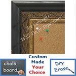 BB1698-1 | Distressed Black / Gold | Custom Cork Bulletin Board | Custom White Dry Erase Board | Custom Chalk Board
