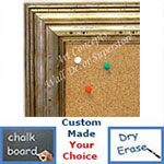 BB1705-4 | Distressed Silver | Custom Cork Bulletin Board | Custom White Dry Erase Board | Custom Chalk Board