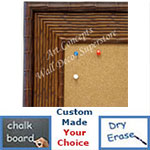 BB1709-1 | Pecan Rattan | Custom Cork Bulletin Board | Custom White Dry Erase Board | Custom Chalk Board