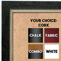 BB1720-1 | Distressed Black / Silver | Custom Cork Bulletin Board | Custom White Dry Erase Board | Custom Chalk Board