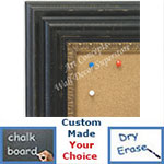 BB1730-1 | Distressed Black with Gold | Custom Cork Bulletin Board | Custom White Dry Erase Board | Custom Chalk Board