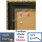 BB1733-1 | Distressed Black with Gold | Custom Cork Bulletin Board | Custom White Dry Erase Board | Custom Chalk Board