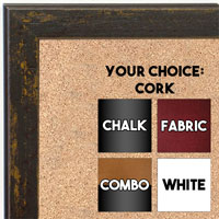 BB1735-7 | Distressed Saddle Brown | Custom Cork Bulletin Board | Custom White Dry Erase Board | Custom Chalk Board