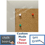BB1764-5 | Brushed Pewter / Aluminum Frame | Custom Cork Bulletin Board | Custom White Dry Erase Board | Custom Chalk Board
