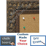 BB1769-3 | Distressed Walnut / Ornate | Custom Cork Bulletin Board | Custom White Dry Erase Board | Custom Chalk Board