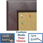 BB1776-2 | Mahogany | Custom Cork Bulletin Board | Custom White Dry Erase Board | Custom Chalk Board