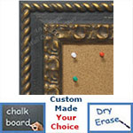 BB1801-1 | Distressed / Black / Gold | Custom Cork Bulletin Board | Custom White Dry Erase Board | Custom Chalk Board