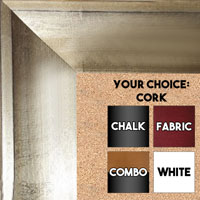 "BB1858-2 Distressed  Champagne Silver Leaf Shallow French Scoop 2 1/2 "" Wide Value Priced Medium To Extra Large Custom Cork Chalk Or Dry Erase Board"