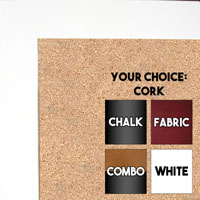 BB37-1 Matte White Small Custom Cork Chalk or Dry Erase Board