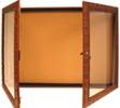 Enclosed cork bulletin board cabinets