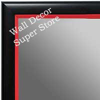 MR1400-3 Black With Red Lip - Small Custom Wall Mirror