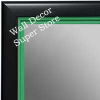 MR1401-2 Black With Green Lip - Medium Custom Wall Mirror Custom Floor Mirror