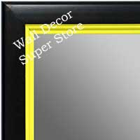 MR1401-4 Black With Yellow Lip - Medium Custom Wall Mirror Custom Floor Mirror