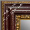 MR1423-1 Distressed Red With Gold - Extra Extra Large Custom Wall Mirror Custom Floor Mirror