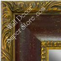 MR1424-1 Distressed Red Scoop With Gold - Extra Extra Large Custom Wall Mirror Custom Floor Mirror