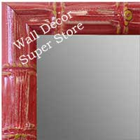 MR1611-5   Red Enamel Bamboo Custom Mirror