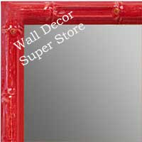 MR1612-5   Red Enamel Bamboo Custom Mirror
