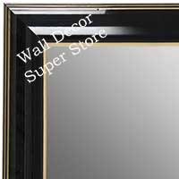 MR1666-1 | Black Lacquer with Gold Trim | Custom Wall Mirror