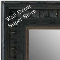 MR5207-2 Aged Black With Light Gold Accent Distressed Piano - Extra Large Custom Wall Mirror Custom Floor Mirror