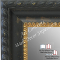 WM1731-1 | Distressed Black with Gold | Custom Three Panel Winged Mirror