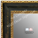 WM1733-1 | Distressed Black with Gold | Custom 3 Panel Wardrobe Mirror
