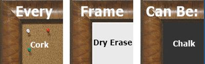 Every frame can be used to make a custom cork board, chalk board or dry erase board