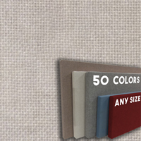 FW800-07 OYSTER PEARL - Frameless Fabric Wrap Cork Bulletin Board - Classic Hook And Loop Velcro