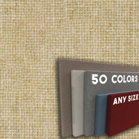 FW800-18 WHEAT - Frameless Fabric Wrap Cork Bulletin Board - Classic Hook And Loop Velcro