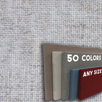 FW800-25 LIGHT SILVER - Frameless Fabric Wrap Cork Bulletin Board - Classic Hook And Loop Velcro