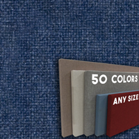 FW800-38 Baltic Blue Frameless Fabric Wrap Cork Bulletin Board - Classic Hook And Loop Velcro