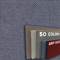 FW800-49 Steel Grey Frameless Fabric Wrap Cork Bulletin Board - Classic Hook And Loop Velcro