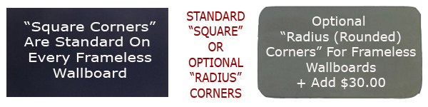 Every frameless fabric cork bulletin board is made to order and comes with standard square corners - upgrade to radius corners for $30.00