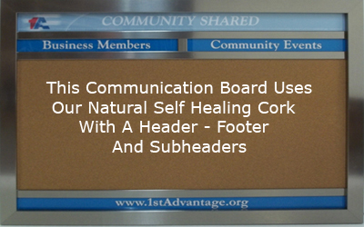 Custom cork communication board with a header, footer and two subheaders