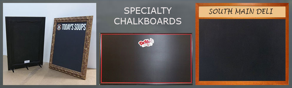 Custom specialty chalkboards - any size with headers and your text or logo
