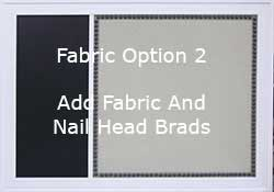 custom combination boards with fabric and nail head trim