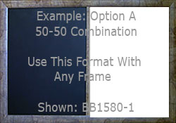 Example of a 50 percent x 50 percent custom combination board