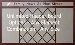 Custom combination boards with header and fabric wrapped french bulletin boards
