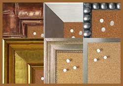 Shop natural self healing cork memo boards with metallic looking frames- satin nickel, oil rubbed bronze, gold, silver and more