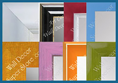shop custom mirrors with colorful frames red, blue pink and more