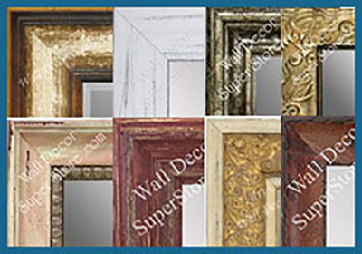 Distressed finish custom mirrors - choose burl wood, shabby chic and more