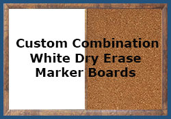 Custom white dry erase combination boards - any combination - any size