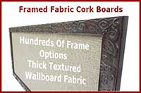 Custom Framed Fabric Coverd Cork Bulletin boards