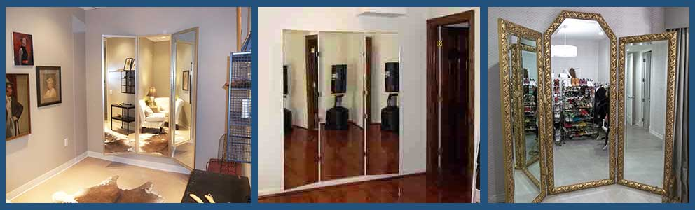 Custom three panel dressing mirrors - any size - floor standing or wall mounted