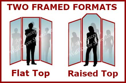 Two formats of framed 3 panel mirrors - flat top and raised top